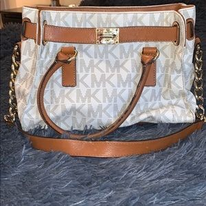 White and brown medium tote with strap